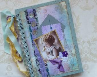 NOTEBOOK, journal, sketchbook  ' Parisian Songbird' .UK seller...Ready to ship......