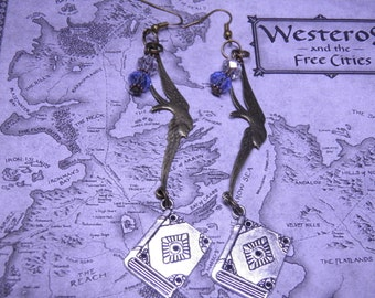 Game of Thrones Earrings, Sterling Silver, Bronze, and Pewter Books, Birds and Crystal Steampunk Jewelry, Game of Thrones Jewelry