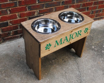 Personalized Large Raised Dog Stand -18'' Tall -  Two 3 Quart Bowls