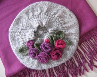 Handknitt beret - hat
