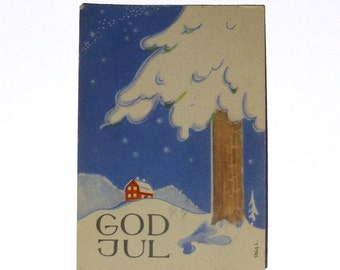 Stig Lindberg - Merry Christmas Miniature Postcard - Sweden - God Jul