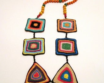 Boho Chic Crocheted Fiber Textile Statement Handmade Necklace