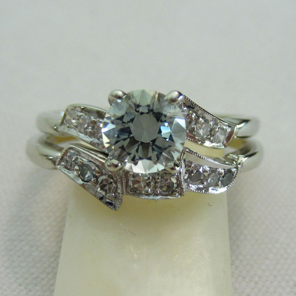 Vintage Aquamarine Diamond Wedding Set Engagement Ring And