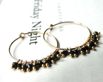 14k Gold Filled Hoops /  Black Spinel Gemstone Jewelry / Hoop Gemstone Earrings, and 14k Gold Filled Hoops