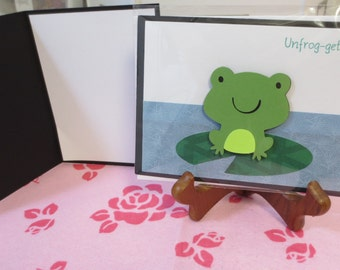 Unforgettable frog on lily greeting card