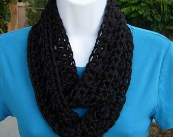 SUMMER SCARF Small Infinity Loop, Solid Black, Super Soft Lightweight Crochet Knit Endless Circle Neck Skinny Cowl..Ready to Ship in 2 days