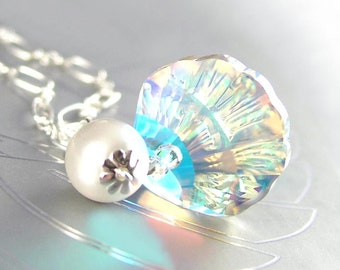 Clear Crystal Necklace, Sterling Silver, Sea Shell Necklace, Swarovski Necklace Aurora Crystal Seashell, Nautical Summer Ocean Beach Jewelry