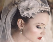 BISQUE Floral and Feather Headband with Rinestone Accents