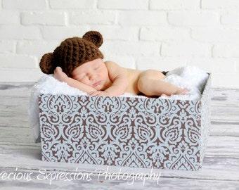 Newborn Teddy Bear Hat in Brown