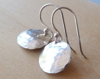 "Silver earrings. 1/2"" Silver Hammered Domed Disc Dangle Earrings. Drop earrings. Ready to ship. Jewelry gift for her. Sale"