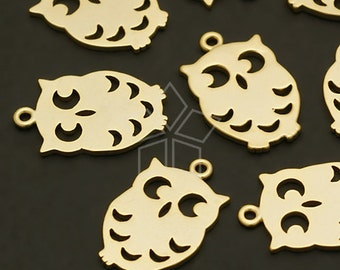 PD-511-MG / 2 Pcs - Owl Charms, Matte Gold Plated over Brass / 9.5mm x 14mm