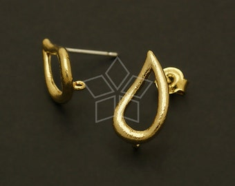 SI-503-MG / 2 Pcs - Satin Gold Comma Earrings, Matte Gold Plated Brass Body with .925 Sterling Silver Post / 9mm x 15mm