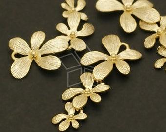 AC-507-MG / 2 Pcs - Little Flower Connector, Matte Gold Plated over Brass / 10mm x 25mm