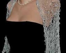 Gray Evening Party Effect Hand Knitted Shrug Wedding Bridal Sleeves Bolero