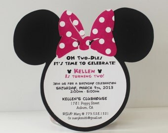Minnie Mouse Invitation - Pink Polka Dot Bow Set of 50 (or more) +