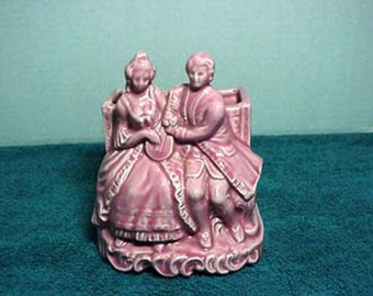Victorian Couple Flower Pot Porcelain Pink Signed W & K Home and Garden Lawn and Garden Gardening Pots and Planters
