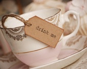 Drink Me Teacup Tags - kraft brown with rustic twine - set of 10
