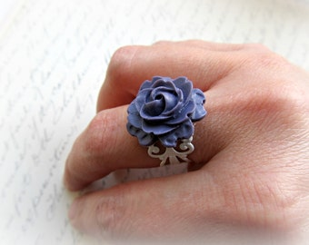 Purple Rose on White Filigree Adjustable ring