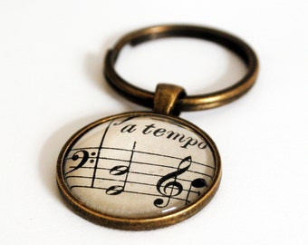 Music Notes Keychain, Musical Theme Key Ring
