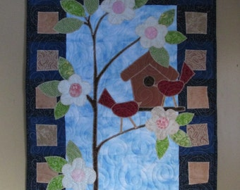Spring Birdhouse Quilted Wall Hanging