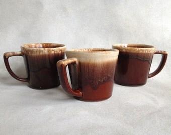 3 McCoy Brown Drip Glaze Mugs