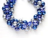 Sapphire Blue Wedding Bridesmaids Jewelry Pearl Cluster Bracelet for Bridal Party, Gift for Her - The Richest Blue