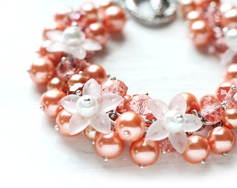 Orange Bridesmaid Wedding Jewelry Pearl Cluster Bracelet - Apricot Flowers