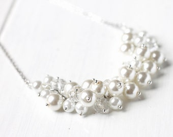 White Winter Wedding Bridesmaid Jewelry Pearl Cluster Necklace - Snow