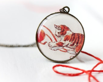 Cute Red Tabby Kitten with Red Yarn Ball Art Pendant Necklace Vintage Art, Round Pendant Cat Pet Lover Adorable