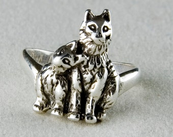Mama & Kitten Sterling Silver Ring