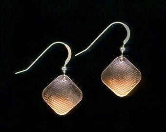 Earrings Copper Square Metal Textured Silver Metalwork Dangle Earrings
