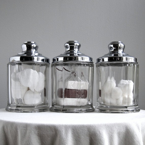 Three vintage glass and chrome storage canisters kitchen for Bathroom containers with lids