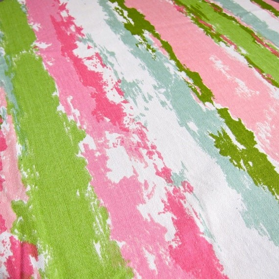 Vintage Waverly Fabric Pink And Green Stripe Cotton