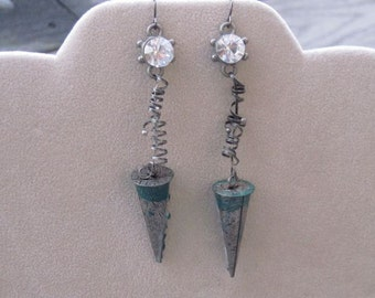 Industrial mixed metal and teal cone earrings