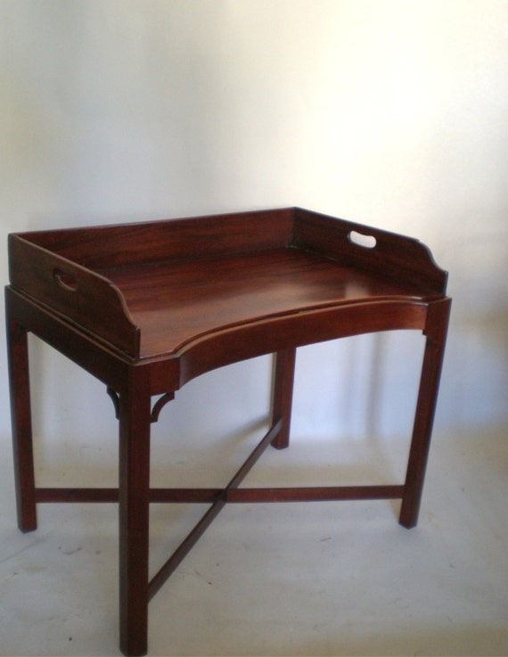 English Butlers Tray Table On Stand Mahogany Coffee By Greenzebre
