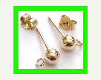 4mm ball earring post 14k yellow gold filled with butterlyfly backing  3 pairs GE08