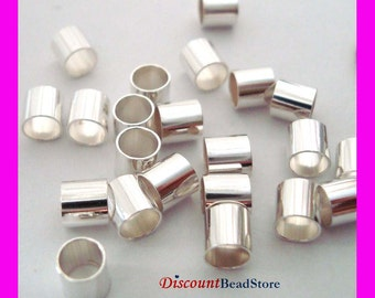 30pcs 4mm x 4mm Sterling Silver crimp bead cut tube spacer F40