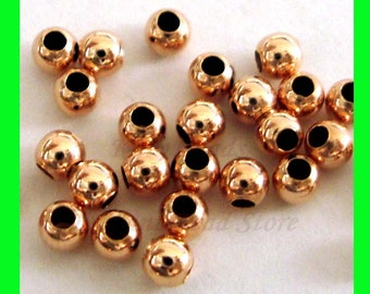 100x 2mm 14k ROSE  gold filled seamless shiny round bead spacers RB02