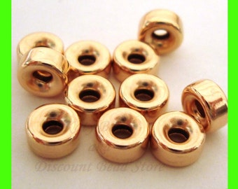 20pcs 5mm 14k Yellow gold filled seamless shiny roundel donut  bead spacers GB35