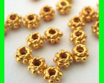 20pcs  4mm Vermeil Gold twisted wire rondelle Bali Bead Spacers VS20