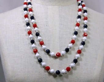 Faceted Round Bead  Red White and Blue 51 inch Necklace 1960s NEW OLD STOCK cSc 299