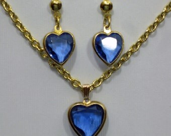 Blue Faceted  Glass Heart Pendant  and Earrings  1960s  NEW OLD STOCK cSc 338