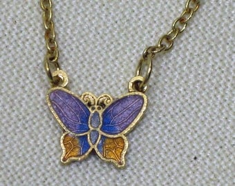Childs Butterfly Pendant Golden topaz and Lavender Cloisonne  1960s  NEW OLD STOCK  cSc 348