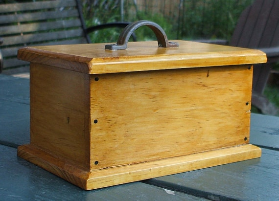Wooden Box with Metal Handle