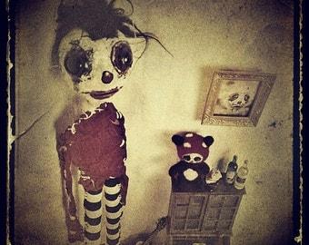 Dark Art Photograph, creepy doll portrait, children's room, whimsical photo, 5x5 8x8 10x10 13x13 Fine Art Print, Vintage style, eerie decor
