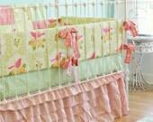 Pink Sweet Birdie Ruffle bedding