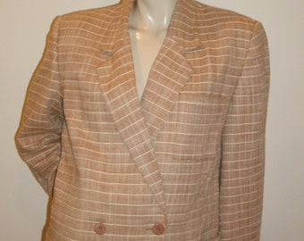 80s vintage Christian Dior Separates striped double breasted boxy boyfriend blazer jacket 10