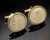 9th year wedding anniversary gift- 2007 Irish Gift - Irish 10 cent Coin Cufflinks