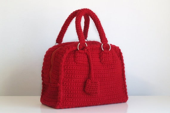Red bowling bag, vintage style handbag, handmade crochet purse
