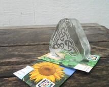 Engraved Blenko Glass Paperweight